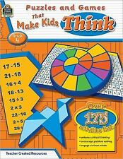 Puzzles and Games that Make Kids Think Grd 4, Sundem, Garth, Good Book