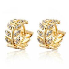 Aros Huggie Pendientes de cristal para mujeres Hoja Cuelgan Aretes zarcillos de diamantes de imitación