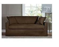 Sure Fit Sofa Slipcover Acadia Collection Separate Seat Box Style Cushion Brown