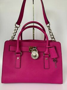 Michael Kors Medium Hamilton in Saffiano Raspberry Pink Leather w Silver Hware