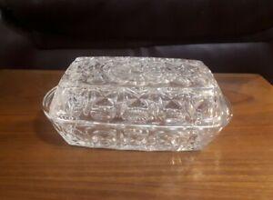 Vintage Pressed Glass Rectangular Lidded Butter Dish Reims Made in France