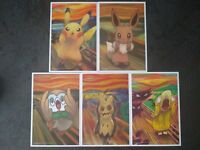 Pokemon center JAPAN -  Pikachu Eevee Munch The scream - official post Card