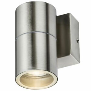 Stainless Steel GU10 Wall Light IP54 LED Single Fixed Outdoor Garden Down Mains