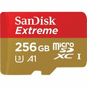 SanDisk Extreme 256GB microSD SDXC UHS-I Memory Card Adapter SDSQXAO-256G-GN6MA