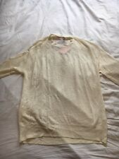 L'Herbe Rouge Linen Cream crew neck jumper size L BNWT