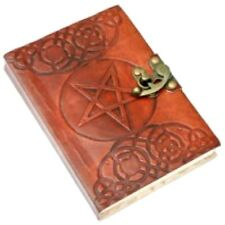 HANDMADE PENTAGRAM LEATHER BOUND NOTEBOOK WITH METAL CLASP A ORGANISATIONAL TOOL