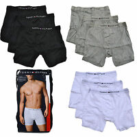 Tommy Hilfiger Underwear Mens 3 Pack Boxer Briefs Mid Rise Black White Grey Blue