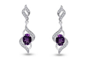 14K Gold Over Sterling Silver Swirl Dangle With Simulated Amethyst Earrings