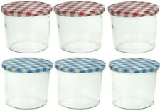 Set of 6 Individual Glass Preserve Chutney Jam Jars With Blue & Red Gingham Lids