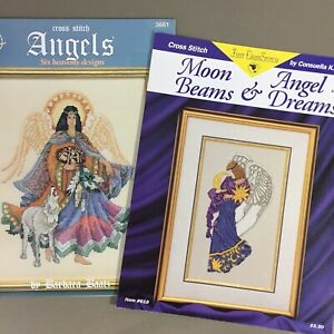 Lot of 2 Angel cross stitch chart booklet Angels and Moon Beams & Angel Dreams