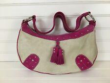 NWT $595 BURBERRY Hot Pink Fuchsia & Cream Suede Leather Hobo Shoulder Bag Purse