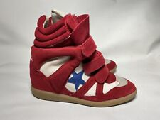 Isabel Marant High Top Sneakers Bayley Wedge Red White Blue Star 39 Us9 Designer