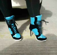 Bty15 Women's Pointy Toe Lace Ups Stilettos Heel High Top Ankle Boots Sneaker XX