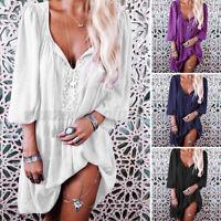 Women Long Sleeve Casual Midi Dress V Neck Plus Size Plain Long Tops Shirt Dress
