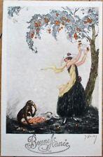 Hardy/Artist-Signed 1927 Art Deco New Year Postcard: Monkey & Woman, Orange Tree