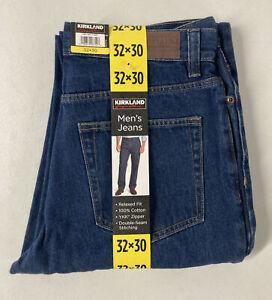 New Kirkland Signature Men's 5-Pocket Blue Jeans, Medium Wash Relaxed Fit 32x30