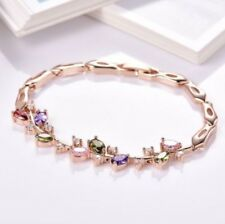 18 K Yellow Gold Filled Colourful Sapphire Chain Bracelet