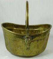 """Vtg. Hosley Ornate Hammered Brass Lion Head Handle Planter Basket 5 3/4""""x 8.5"""""""