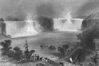 NIAGARA FALLS RIVER HORSESHOE Maid of Mist Boat ~ 1854 Art Print Engraving RARE