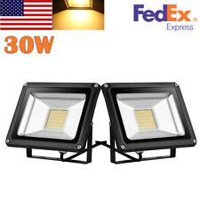 2X 30W LED Flood Light Warm White Outdoor Floodlight Yard Garden Spotlight 110V
