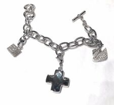 Swarovski Silver Charm Bracelet  With Swan, Cross Crystal, and Cube Charms