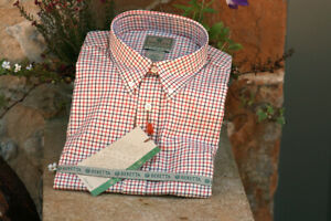 Mens Beretta Classic Shirt - Beige and Red Check - New