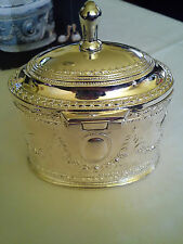 Antique/vintage reproduction silver plated jewelry oval box brand new
