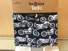 TOE OF A KIND SOCKS HALLMARK MOTORCYCLE CREW SOCKS NEW WITH TAGS BLACK/WHITE