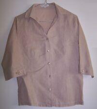 Camicia NARA CAMICIE beige LINO 100% Donna Casacca manica corta  Tg.I Tg. S