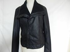 Kenneth Cole Reaction Knit Collar Faux Leather Moto Jacket S Black New w/Defects