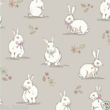 CHATHAM GLYN 100% COTTON CURTAIN FABRIC/CRAFT BUNNIES (Rabbits) Taupe  p/m