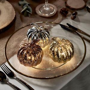 3er Set LED Kürbis Silber Gold Bronze Batterie Deko Herbst Halloween Lights4fun