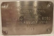 Vintage Helio H-250 Data Plate MFR. Date 1965 Used
