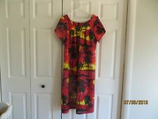 Royal Creations Hawaii Womens Red Black Floral Cap Sleeves Muu Muu Dress SZ XL
