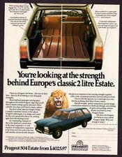 1977 PEUGEOT 504 Estate Station-Wagon Vintage Original Print AD - Lion, blue car