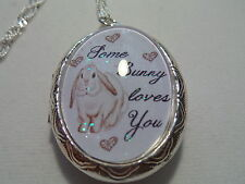 "STERLING SILVER PLATED BUNNY LOCKET 26"" CHAIN SOME BUNNY LOVES YOU"