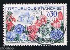1 FRANCOBOLLO FRANCIA MOSTRA FLOREALE DI NANTES 1963 usato