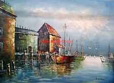 "36x48""(92x122cm)100%Hand Painted Oil Flat,Ocean,Beach,Seascape,Harbor,Ship"