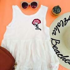 White Patched Sleeveless Tops