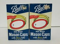 Set of 2 x 12 BALL Wide Mouth Bands w/ Dome Lids For Mason Jars Canning #40000