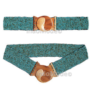 """Turquoise Women's Belt - 2mm Glass Beads Stretchy Cinch Belt 2"""" Wide Wood Buckle"""