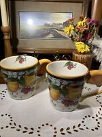 2 Maxcera Fruitiera Large Mugs~Coffee Tea Soup~Hand Painted Colorful Fruit~Gift