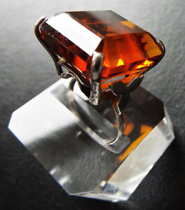 Large Chunky Vintage Sterling Silver Citrine Paste Cocktail Ring 1950s / 1960s