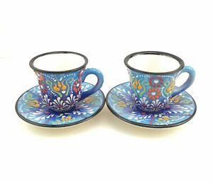 Turkish Coffee(Espresso) Cup Saucer Set Of 2 Porcelain Flowers Design