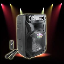 "12"" BLUETOOTH Portable KARAOKE PARTY PA DJ SPEAKER SYSTEM w/ Lights & 2 Mics"