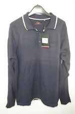 PIERRE CARDIN sz XL MENS JUMPER SWEATER PULLOVER COTTON POLO NECK SOLID NAVY NEW