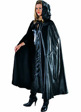 Deluxe BLACK  Satin Hooded Cloak/Cape - GOTHIC / WITCH ETC