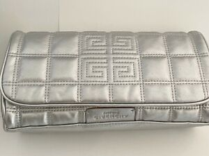 GIVENCHY SILVER TONE QUILTED PERFUME BAG MAKE UP BAG SNAP CLOSURE