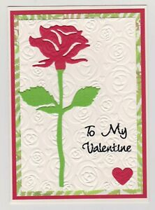 Blank Handmade Greeting Card ~ TO MY VALENTINE with RED ROSE ON EMBOSSED ROSES