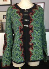 Vrikke Sweater XL Green Wool Blend Nordic Pewter Clasp Irene Haugland